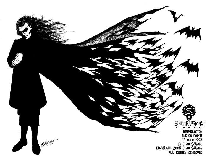 Line Art Rooster : Dissolution 1993 original vampire drawing · shopsinister.com