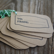 'To' and 'From' Christmas Kraft Tags on Green Baker's Twine