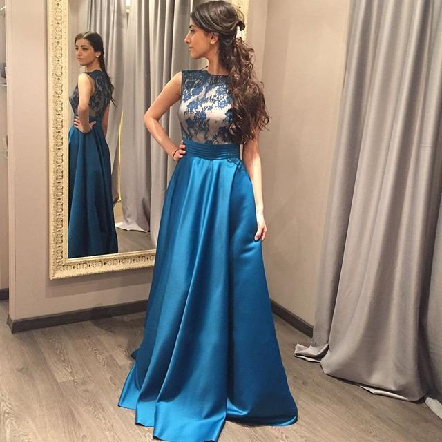 P158 Classy Sleeveless Prom Dresses,High Neck Prom Dresses,Long Lace ...