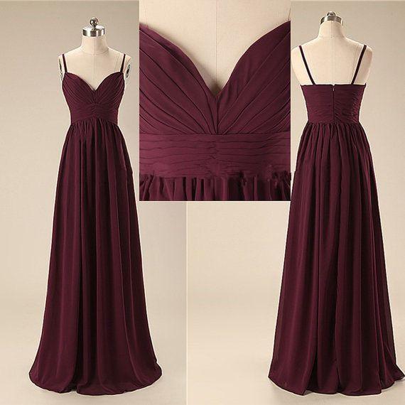 P164 Elegant Handmade Long Spaghetti Straps Simple Prom Dresses ...