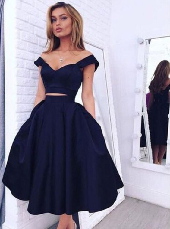 Vintage Style A-line,Two-piece Navy Blue Homecoming Dress,Evening ...
