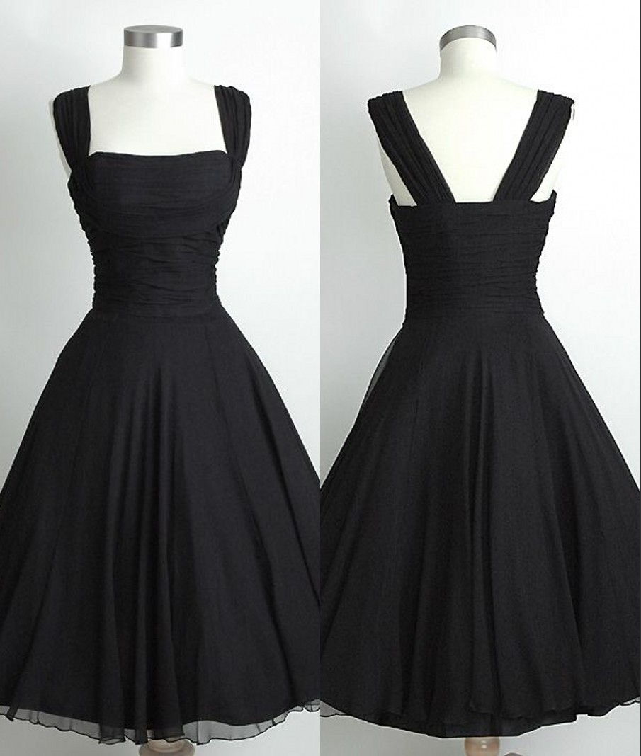 Short Straps Black Bridesmaid Dresses,Black Knee Length Party ...