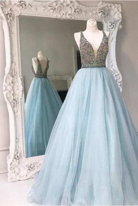 Light blue backless a line evening prom dresses sexy deep for Double sided tape for wedding dress