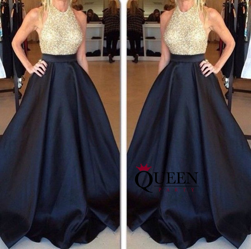 A-Line Black Satin And Golden Beaded Bodice Sequins Halter Evening ...