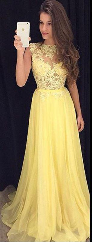 New Arrival Prom Dress Yellow Long Prom Dresses Elegant A-line ...