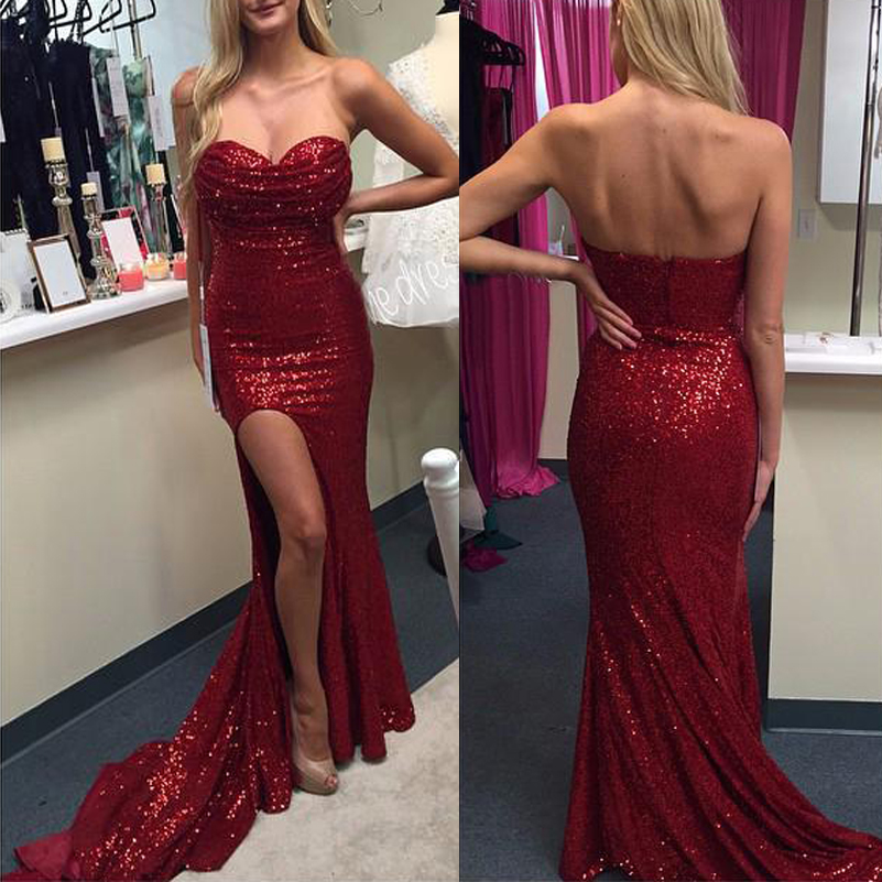 Sparky Burgundy Sequin Prom Dresses Sweetheart Mermaid Evening Gowns ...