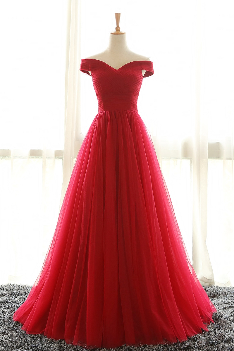 Off Shoulder Red Bridesmaid Dress, Red Prom Dresses,Off ...