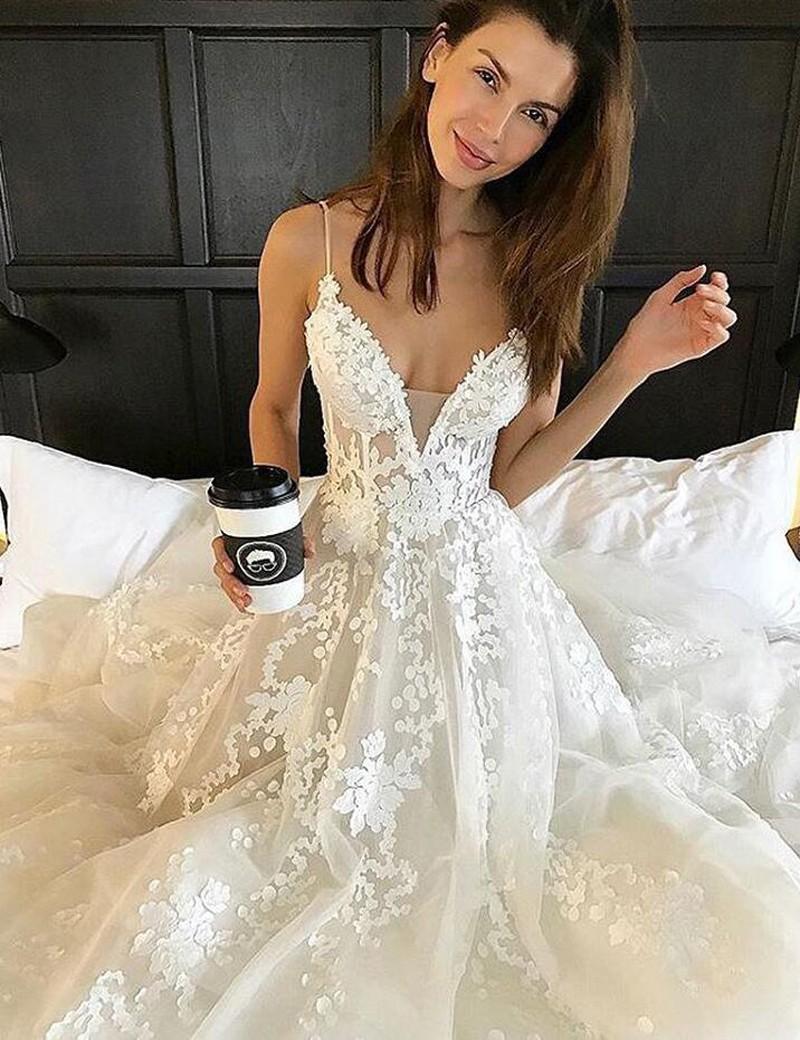 2017 Wedding Dress, White Lace Long Wedding Dress, Bridal Gown ...