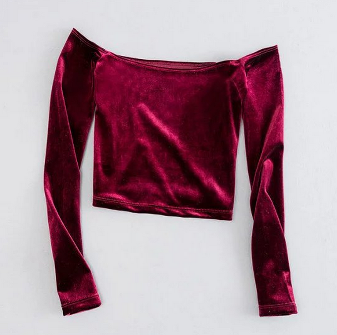 4562e235d8418 Off Shoulder Velvet Long Sleeve Crop Top YL-64 · Beeegoods · Online ...