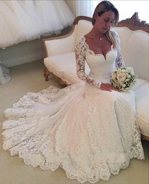 Hot Sales Long Sleeves Ivory Wedding Dresses,High Quality Lace ...
