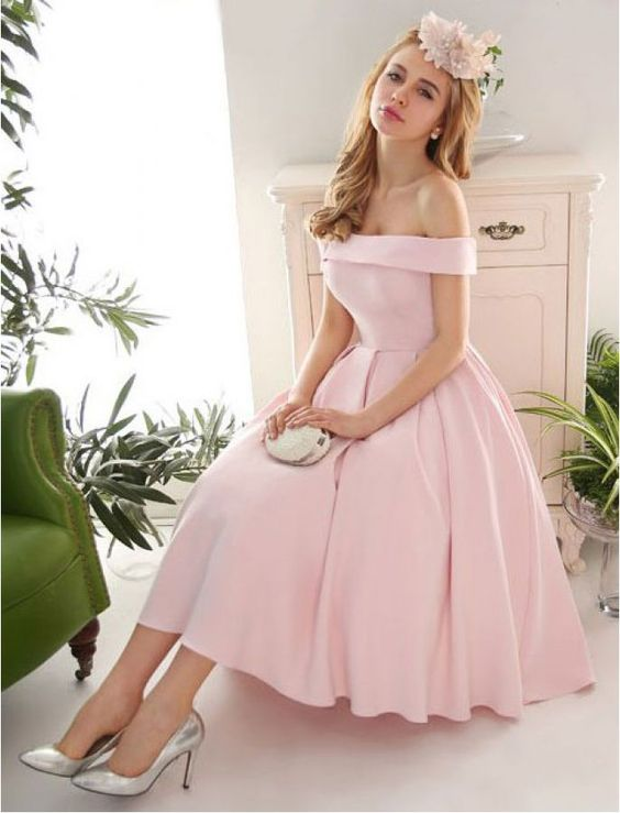 A419 Prom Dresses,Pink Evening Gowns,off the shoulder Prom Dresses ...