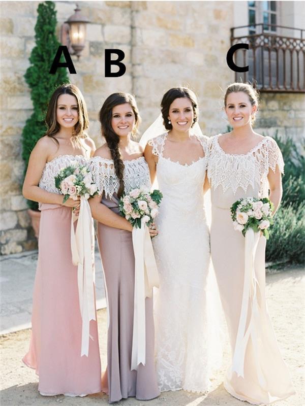 Simple Lace Bridesmaid Dress, Open Back Floor Length Bridesmaid ...