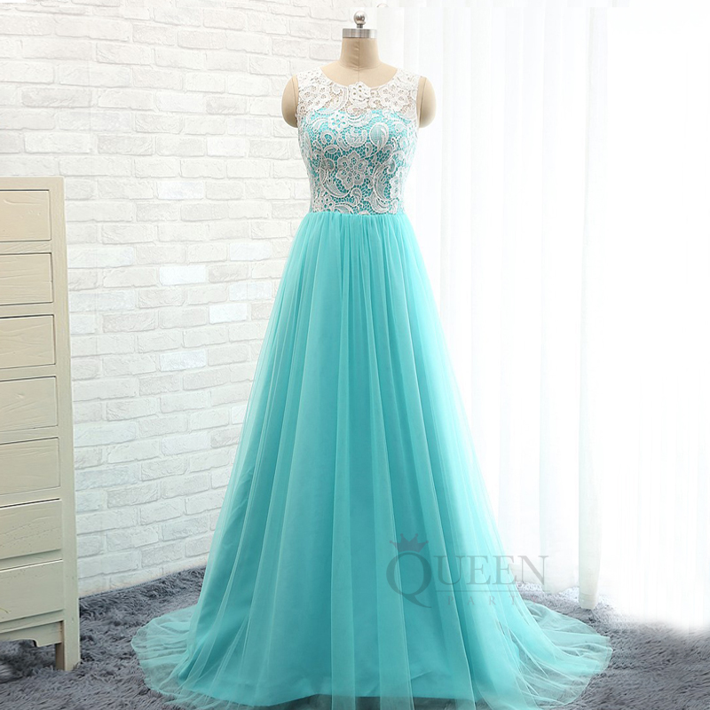 Mint Blue Tulle And White Lace Bodice A-Line Long Prom Dress, light ...