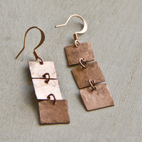 Squares Copper Earrings