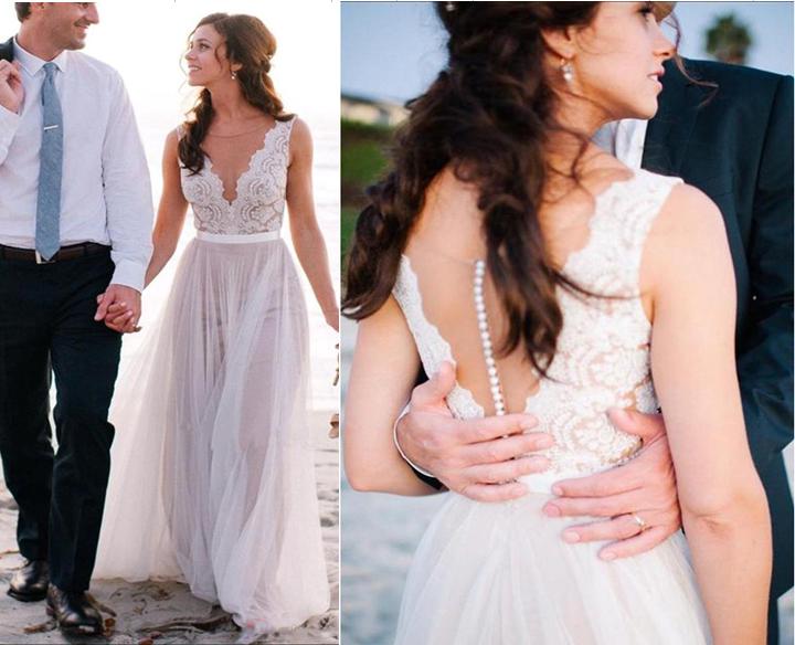 Elegant Ivory Lace Tulle Wedding Dresses,Off the Shoulder Scoop ...