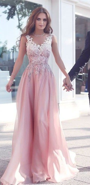 Pink round neck lace long prom dress, pink bridesmaid dresses ...