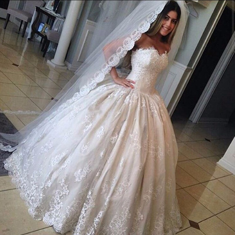 Sweetheart Ball Gown Lace Charming wedding dress, lace wedding dress ...