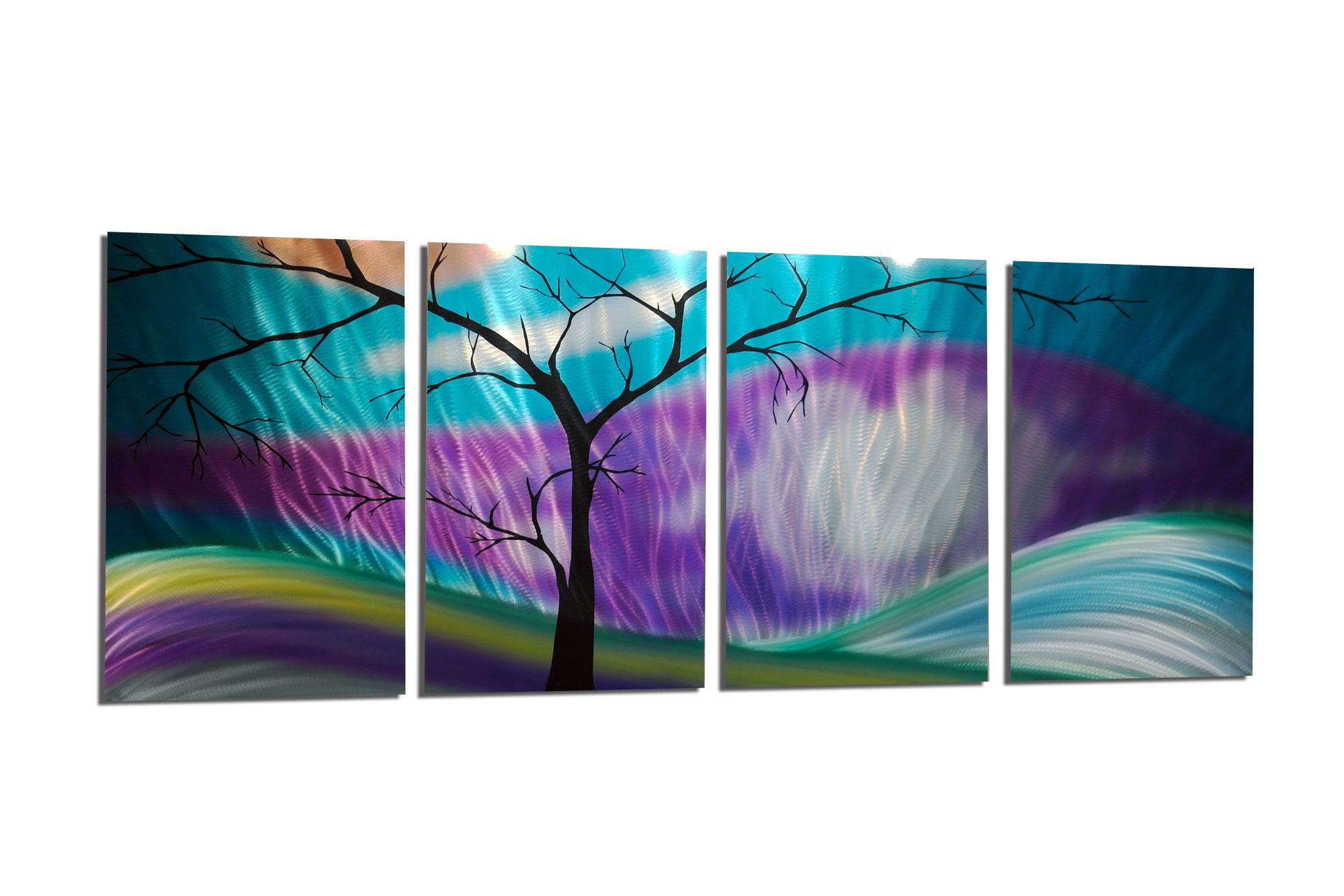 Purple Metal Wall Art shadow tree purple - abstract metal wall art contemporary modern