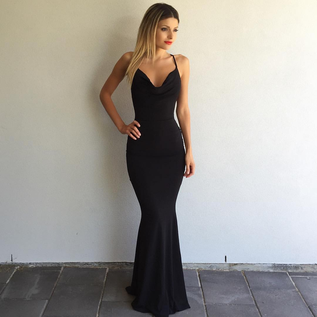 Sexy Black Formal Evening Dress 2017 Black Long Prom Dress With