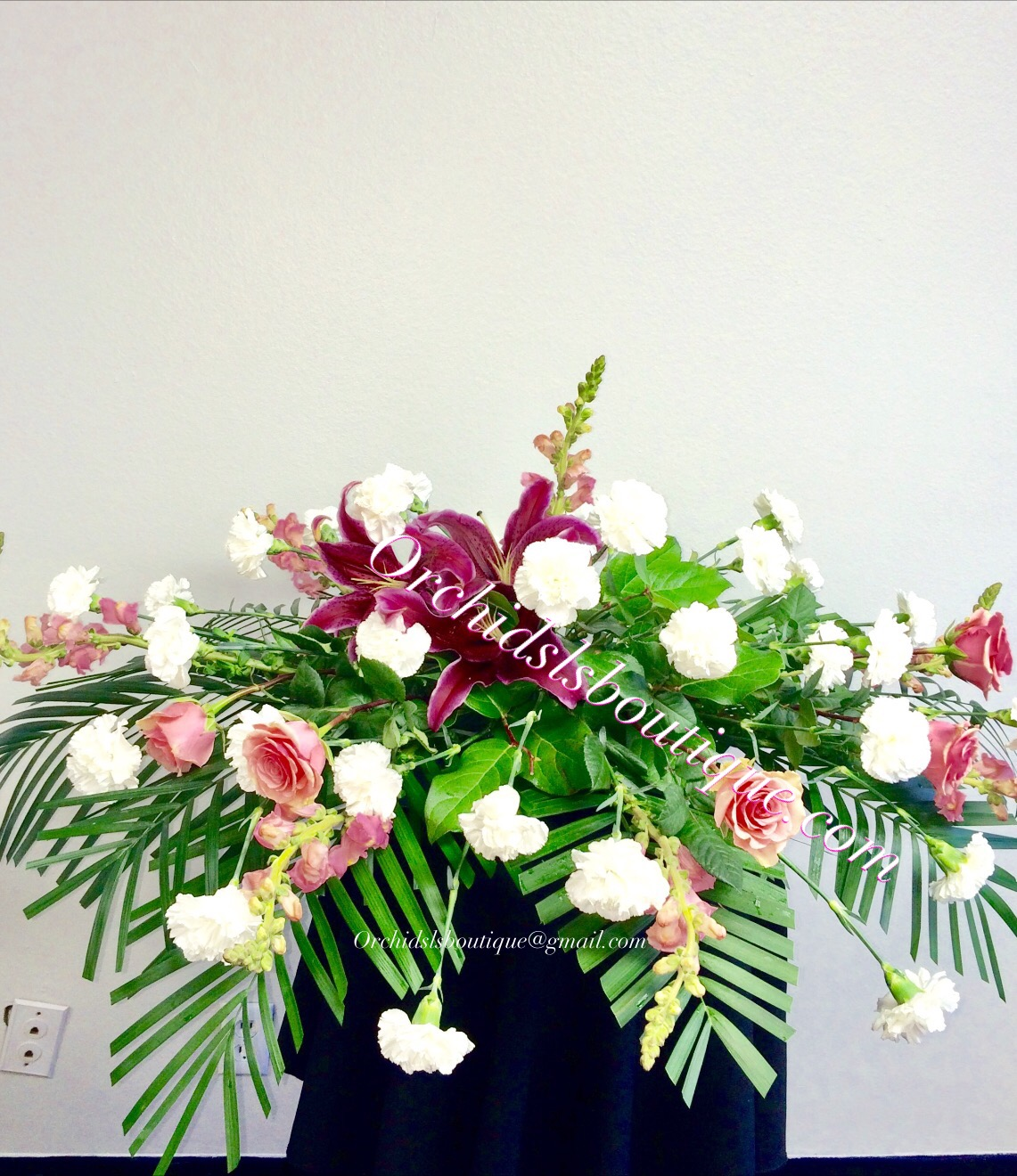 Silent Dwell Mixed Casket Spray Sympathy Flowers Funeral Flowers
