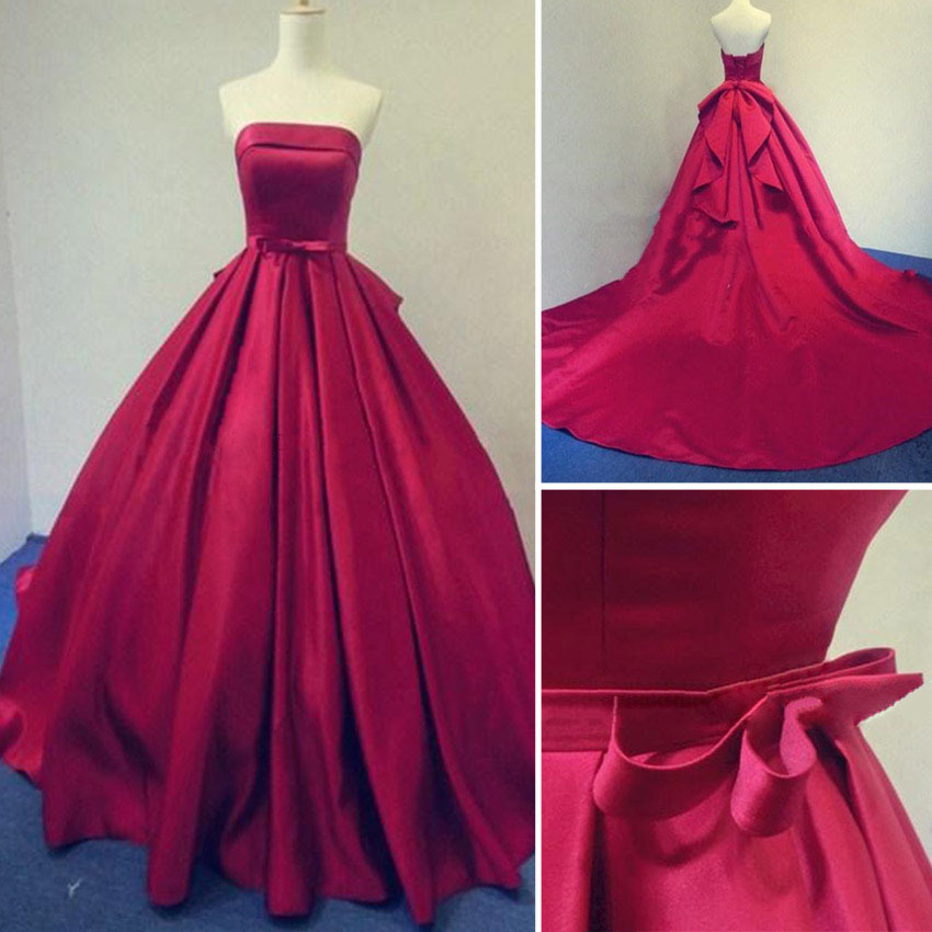 2017 Long Burgundy Prom Dresses Ball Gowns Evening Party Gown ...