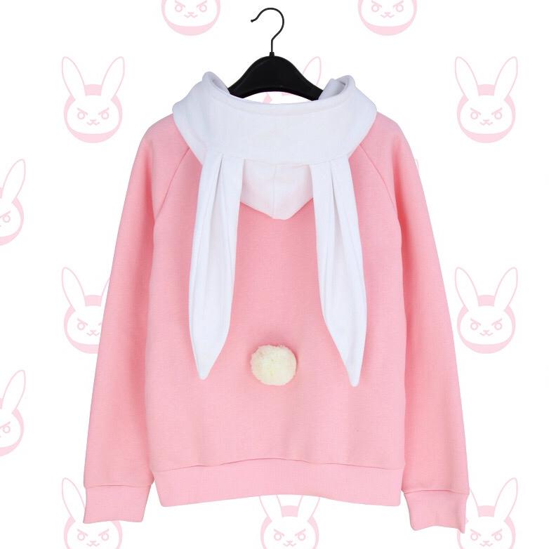 Girly Pretty Dva Bunny Hood Sweater Cosplay Anime Jacket