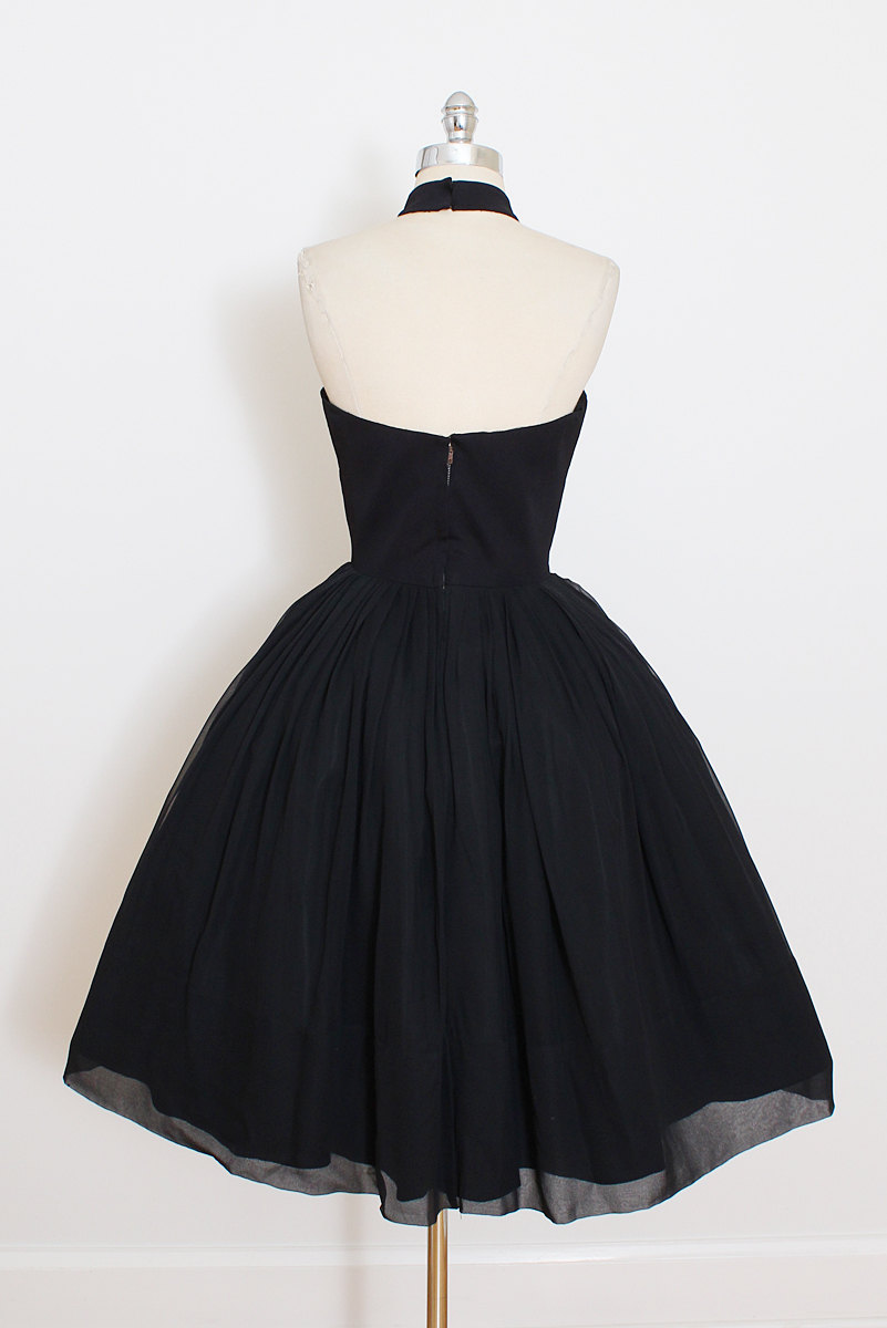 Vintage Little Black Dress Short Black Halter Prom Dress