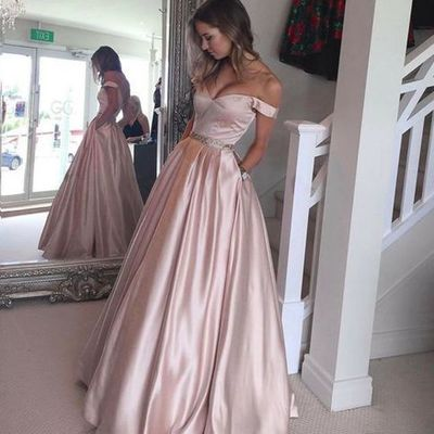 Stylish light pink off shoulder long prom dresslight pink evening stylish light pink off shoulder long prom dresslight pink evening dresses dream prom online store powered by storenvy junglespirit Choice Image