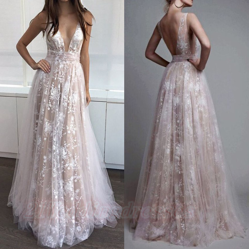 Long Lace Tulle A-line Simple Prom Dresses For Teens,Sparkly Evening ...
