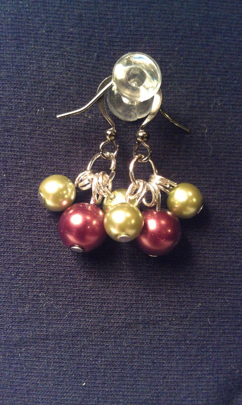 Brown & Green 3 Bead Earrings