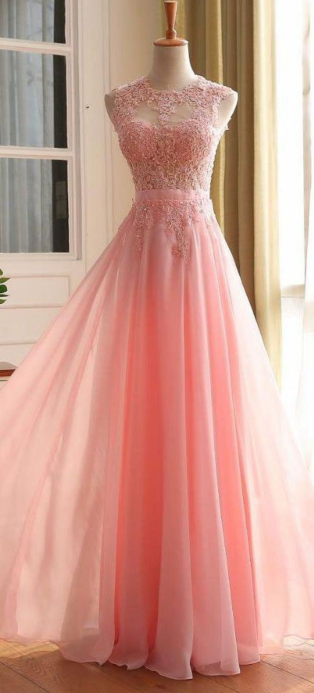 Modest Prom Dress,A-line Sleeveless Zipper Back Chiffon Lace Dress ...