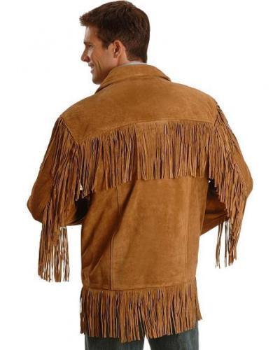New Men Western Fringe Jackets Men Brown Fringe Jacket