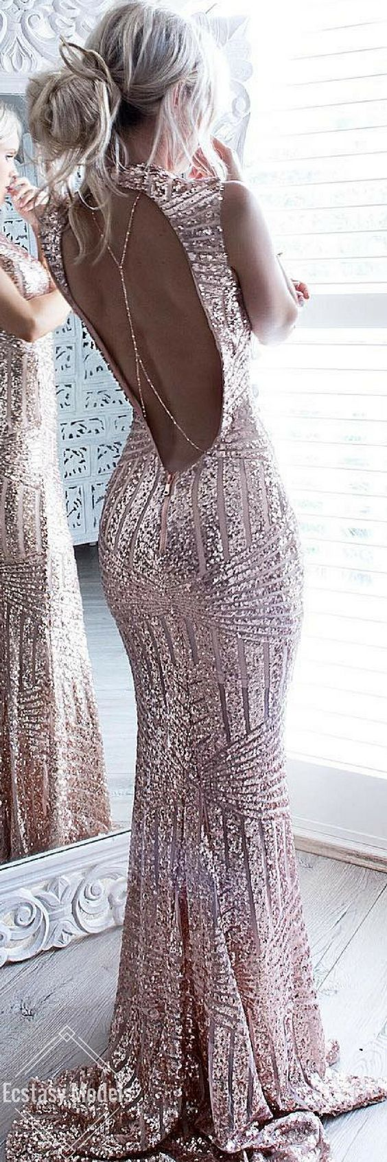 New Arrival Rose Gold Sequin Prom Gown,Prom Dress with Backless ...