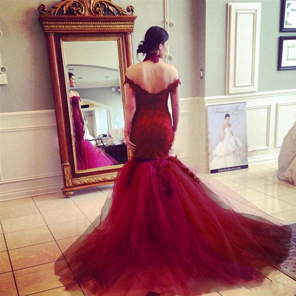 Vintage Off Shoulder Lace Wedding Dress,Burgundy Bridal Gowns ...