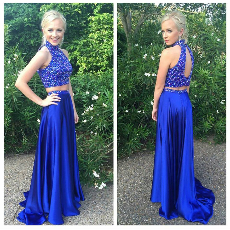 Halter High Neck Beaded Prom Dresses,Two Pieces Prom Dresses,Royal ...