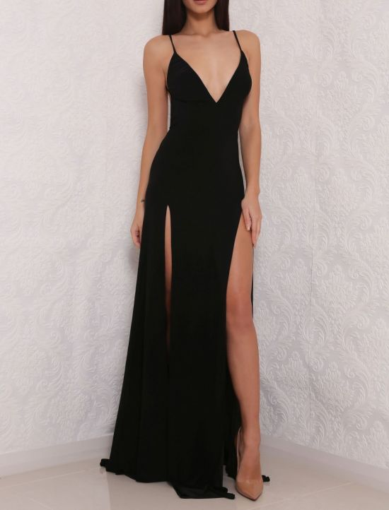 V Neck Prom Dresslong Prom Dress With Split Sidesweep Train