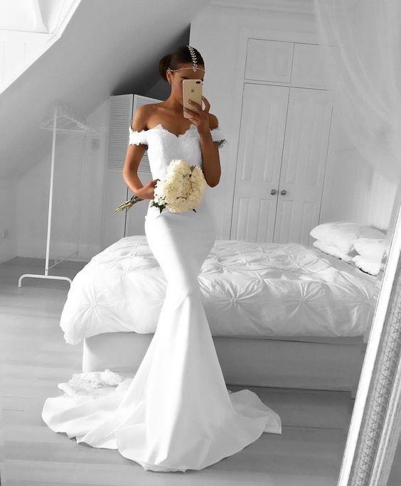 Custom Made White Mermaid Prom Dress,Off the Shoulder Evening Dress ...