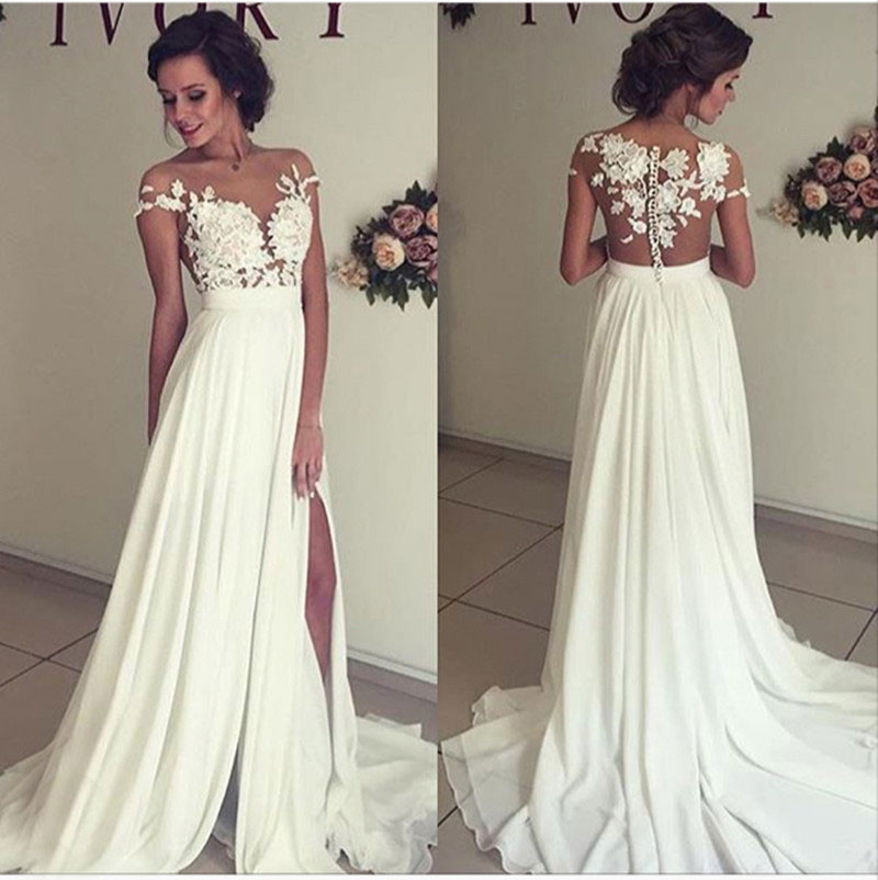 H87 A-line Lace Appliqued Cap Sleeves Prom Dresses,Ivory Chiffon ...