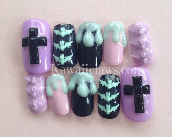 Pastel Creepy Cute Drippy Bat Cross Nail Art Glitter Press On False Fake Nails