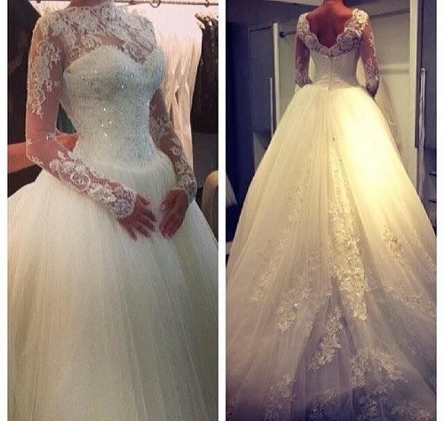 High Neck Long Sleeve Princess Wedding Dress Ball Gown Lace Cheap ...