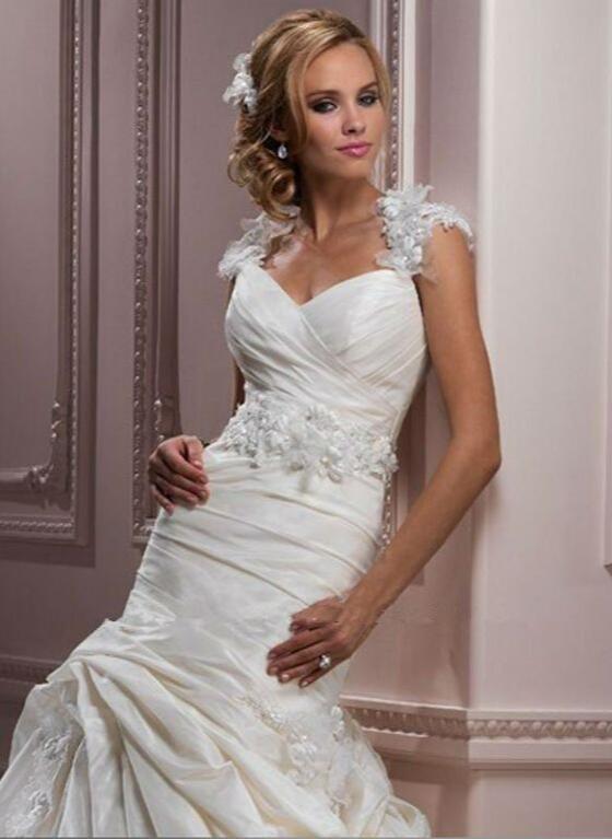 H224 Real Made Sweetheart Ruffle Chapel Train Organza Wedding Gowns ...