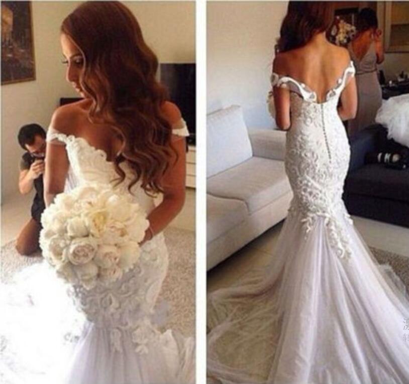 H228 Gorgeous Off the Shoulder Wedding Dresses, Backless Wedding ...