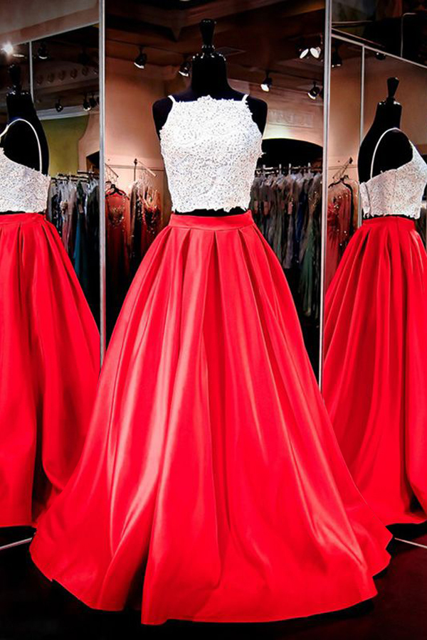 Gorgeous Two-piece Square Neck Red Floor-Length Prom Dress with Lace ...