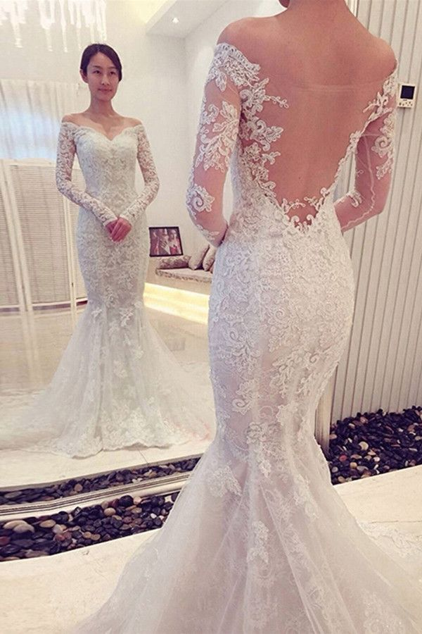 A490 Charming Off The Shoulder Long Sleeves Lace Mermaid Wedding ...