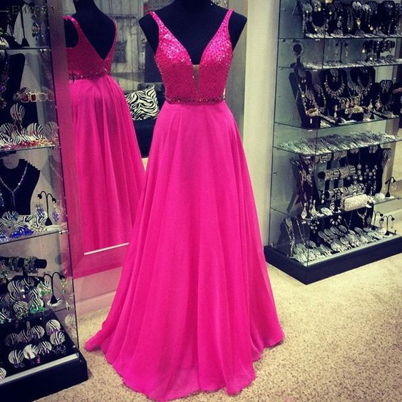 H409 Gorgeous A-line Long Chiffon V-neck Hot Pink Prom Dress,Real ...