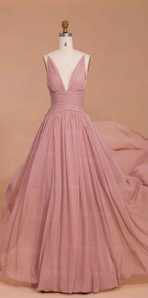 Graceful prom dress dusty rose long bridesmaid dresses for Antique rose wedding dress