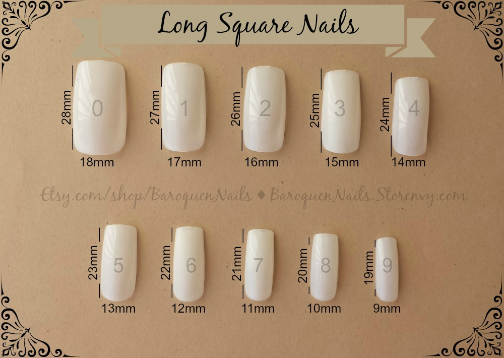500 pcs Long Square Press On Nails - Full Cover False Nails Clear or ...