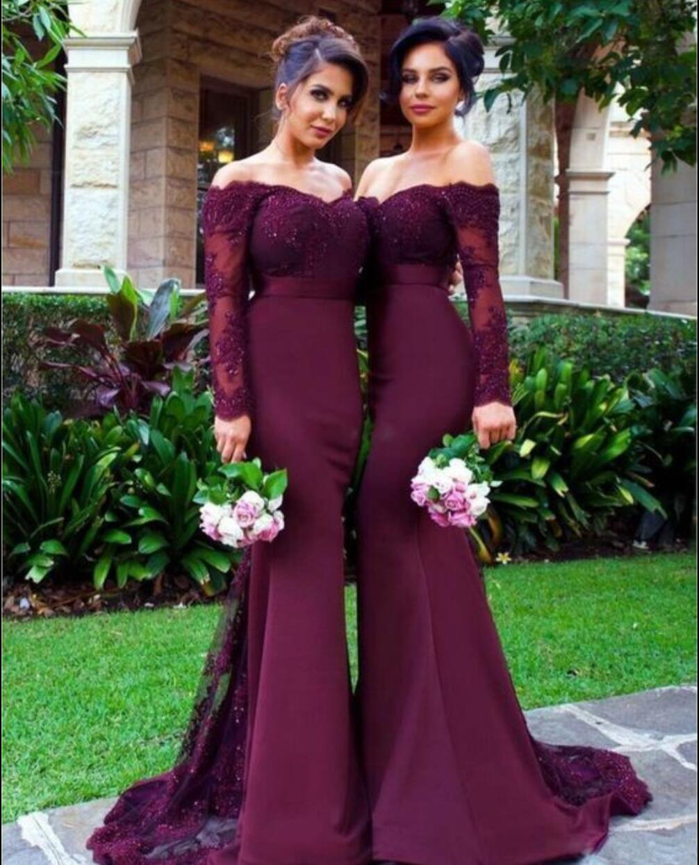 Charming Prom Dresslong Sleeve Prom Dressbeaded Evening Dress