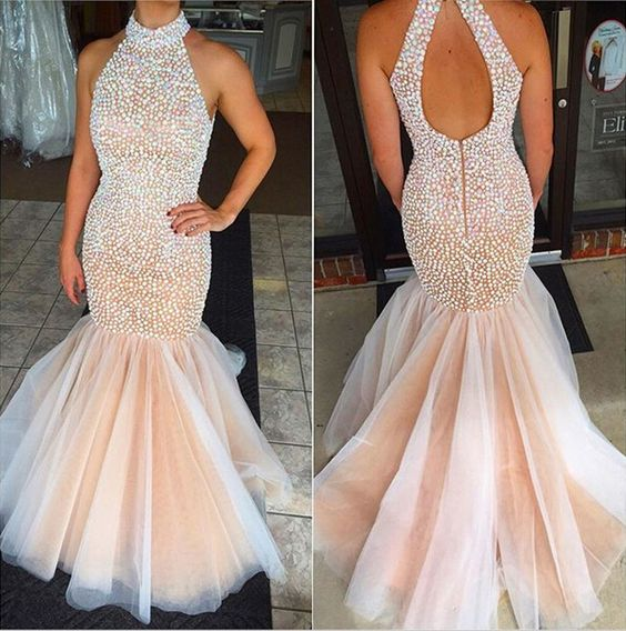 U0016, Champagne Prom Dresses, Mermaid Prom, Backless prom dress ...