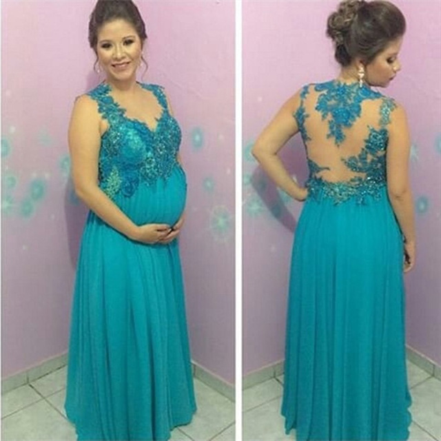 Charming Prom Dress,Appliques Chiffon Blue Prom Dress,Elegant Prom ...